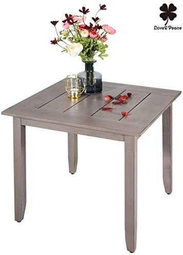 Love Peace 24 Outdoor Patio Side Table Aluminum Square Coffee Tea Bistro Table Small Side End Outdoor Furniture Table