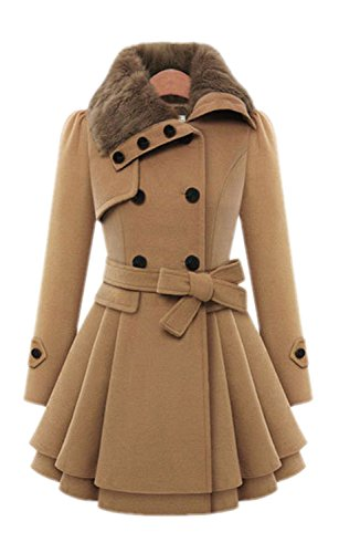 Babyonline-Womens-Fashion-Faux-Fur-Lapel-Double-breasted-Thick-Wool-Trench-Coat