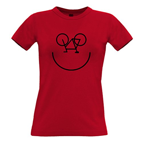 Bike Smiley, stampato Logo Designer novità Ciclista Art Estate T-Shirt Da Donna