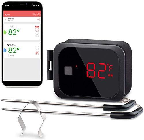 Inkbird Draadloze Draagbare Bluetooth Barbecue Thermometer met Dubbele Sonde, Android- en iOS-afstandsbediening, voor…