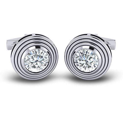 Azeera ROHIN Cufflinks 14k White Gold with Diamond - Cufflinks Gemstone 14k