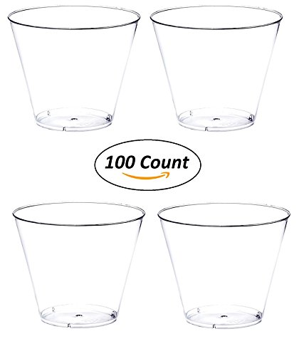 Crystal Clear Tumbler - 100 count 9 oz Party Cups Old Fashioned Tumblers by Oojami (Clear)