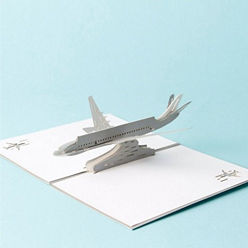 Greeting cards,StyLeShop 3D Pop Up Airplane Greeting Cards Christmas Birthday Valentine Invitation