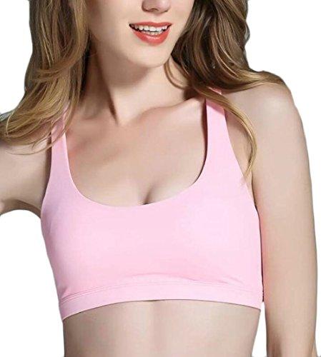 XQS Women's High Impact Back Criss Cross Workout Wirefree Running Yoga Sports Bra Pink XS