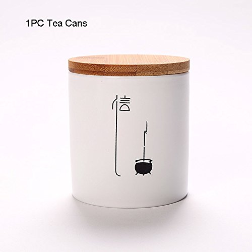 GreenSun(TM) 4PCS Zen Style Hand Painted Pottery Puer Tea Cans Canister Kung Fu Tea Set Black Tea Jar Candy Seal Storage Creative Home Decor by GreenSun