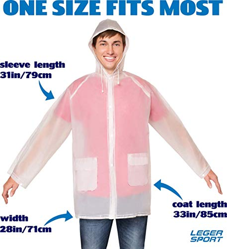 Leger sport Durable EVA The Best Rain Poncho -Unisex Men Women -Reusable Raincoat - with Hood - Ventilation & Two Pockets -Stay Dry in The Rain