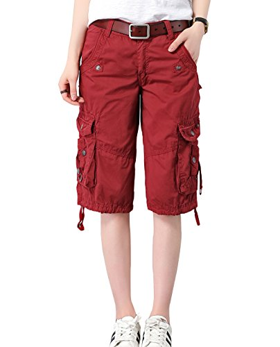 (HOW'ON Women's Casual Loose Fit Twill Bermuda Cargo Shorts Multi Pocket Straight Shorts Wine Red S)