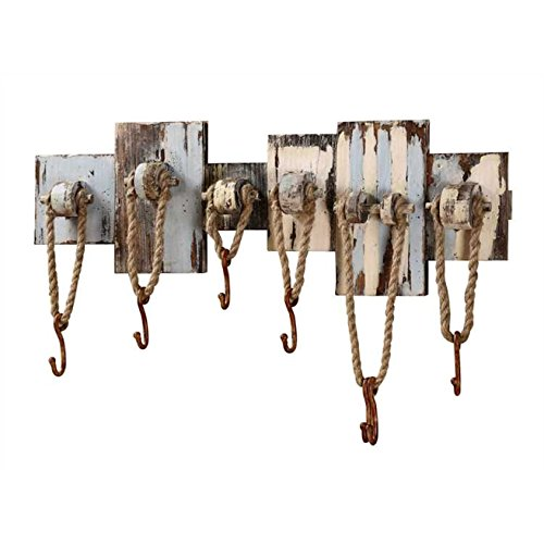 Coastal Cape Cod Beach Cottage Hook Board - Beach Lake Pool Style Distressed Towel Bathing Suit Trunks Coat Robe Hanger Board - 32-1/2-in Wood Wall Décor with 7 Hooks (North Cape Outdoor Furniture)