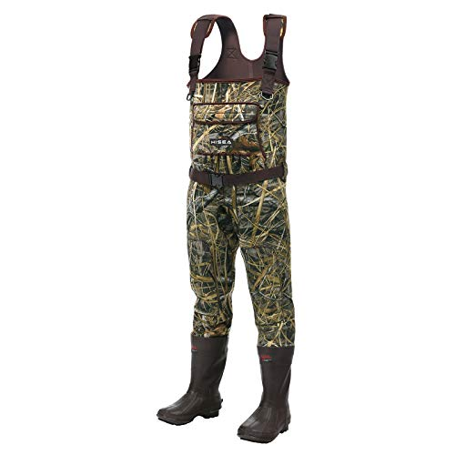Hisea Chest Waders Neoprene Duck Hunting Waders for Men with Boots Camo Fishing Wader Bootfoot Cleated Waterproof Breathable Insulated Size 11