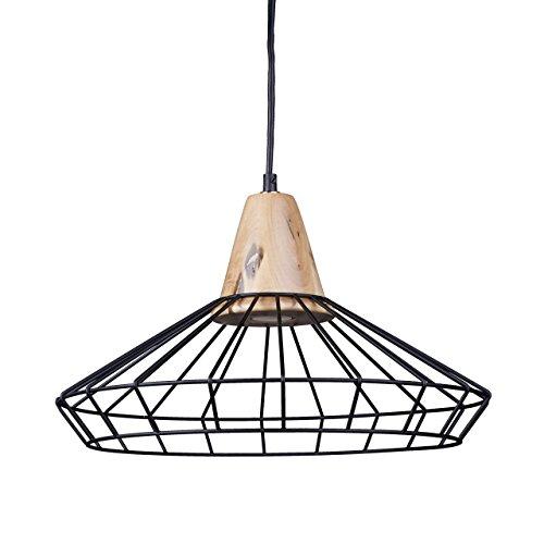 Relaxdays Lampe à suspension GRID optique cage grille design retro métal et bois lampe de plafond luminaire HxlxP: 110 x 40 x 40 cm, noir