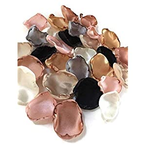 Blush pink silver ivory champagne black gold and rose quartz mix of 50 flower petals 2