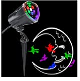 LightShow LED Projection Plus-Whirl-a-Motion and Static-Witch with Moon