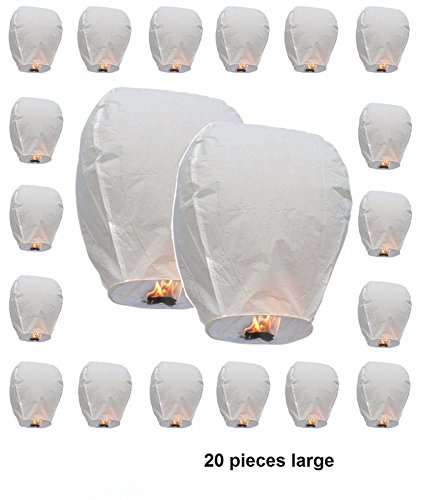 Sky Lanterns,20 Sets Chinese Wishing Lanterns, 100% Biodegradable And Fully Assambeled (White)