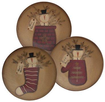 Set of 3 Snowman Pocket Plates, 3 Asstd. -
