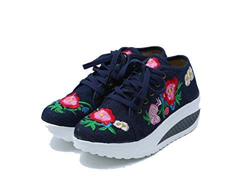 35 40 Rojo Talla Rocking Deporte para Mujer Shake Zapatillas Viento de Zapatillas Casual New Primavera Bordado Zapatillas Azul Nacional Shoes Azul de de HR1nqwUc