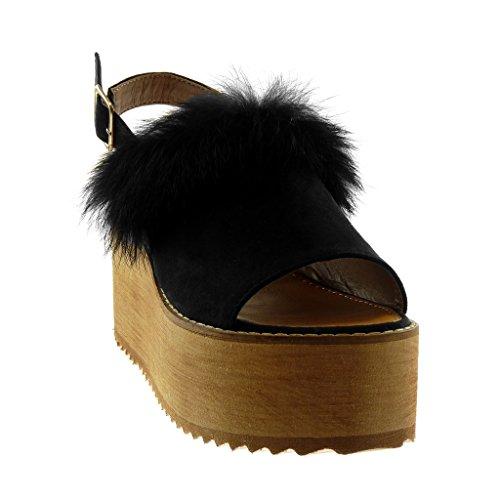 Lanière 8 Femme Compensé Toe Lanière cm Peep Mule Angkorly Noir Plateforme Bois Talon Sandale Cheville Plateforme Chaussure Fourrure Mode axw7wAC