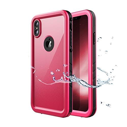 iPhone Xs Max Waterproof Case, Waterproof iPhone Xs Max Shockproof Full-Body Rugged Cover Case with Built-in Screen Protector for Apple iPhone Xs Max 6.5 inch (2018)-(Pink)