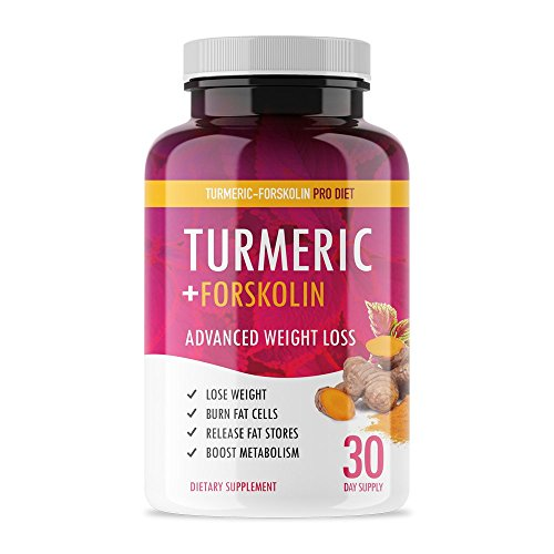 Turmeric Forskolin Pro Diet - Weight Loss Turmeric + Forskolin Appetite Suppressant to Boost Metabolism and Burn Fat - 30 Capsules