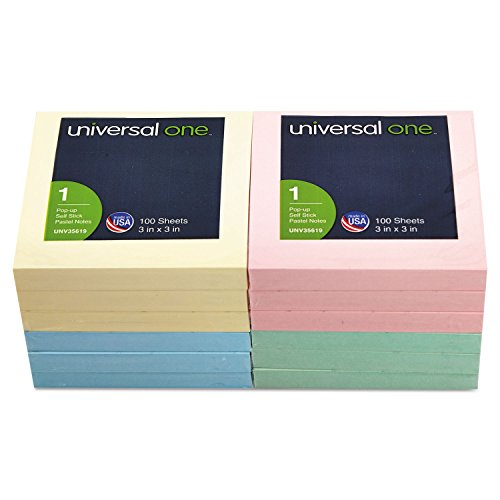 Fan-Folded Pop-Up Notes, 3 x 3, 4 Pastel Colors, 12 100-Sheet Pads/Pack by Universal One