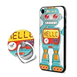 SJDEI5W Hello Robot Mobile Phone Ring Stent + iPhone 8 Case/iPhone 7 Case, PC Rubber Case Compatible iPhone 8 2017/ iPhone 7