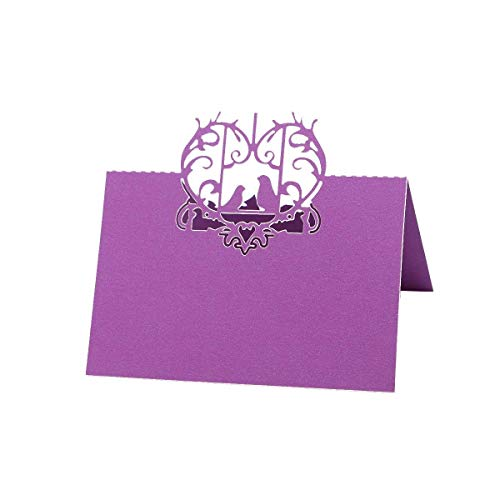 Tuersuer Wedding Festival Party Decoration 50PCS Table Name Place Cards Heart and Bird Hollow Laser Cut Name Place Card for Wedding Party Table Decorations (Purple) ()