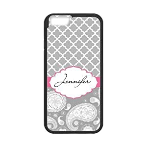 Gray Quatrefoil & Paisley Style Pink Ribbon Personalized Custom Best Hard Plastic Case for iPhone6 ( Only for 4.7 inches)