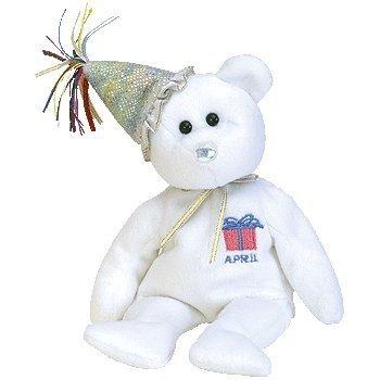 Ty Beanie Babies April the Birthday Bear W/hat Retired