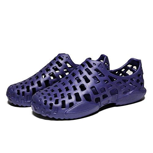 (Hivot Men's Unisex Mules Clogs Sandals Slip-Proof Flat Slippers Wild Soft Shoes Hollow Out Beach Shoes Couples Sandals Blue)