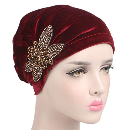 Qhome Fashion Women's Elegant Soft Velvet Turban Beanie with Beaded Flower Hat Chemo Cap Liner For Cancer Hair Loss Ladies ()