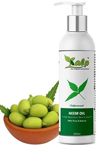 Kalp® Neem oil -Pure Cold Pressed Unrefined,Natural & Undiluted For Skincare,Hair Care & Natural Bug Repellent (200 Ml)