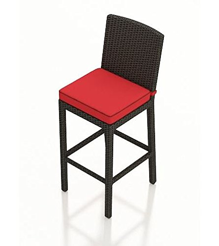 Md Group New Hdpe Ruby Patio Barbados Flagship Bar Stool Uv Protected  Ebony Colored Wicker Sports A Flat Woven Design Thick Gauged Powder Coated Aluminum Frame
