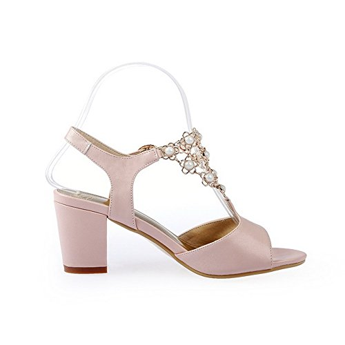 Sandals Womens Open Heels Pink Toe PU Solid Buckle AmoonyFashion Kitten PwSggT