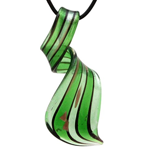 Sliders Green Pendant - Murano Glass Green Striped Twisted Curl Pendant