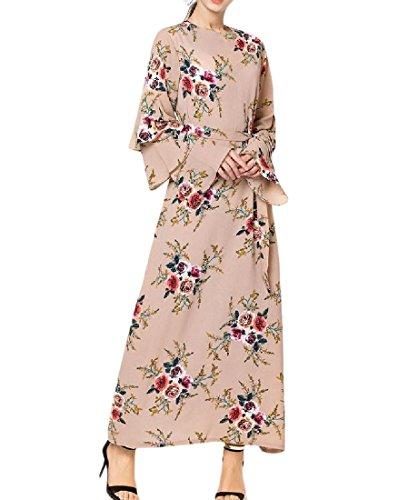 Comaba Women's Gowns Floral Printed Dubai Flare Sleeve Muslim Arabian Maxi Dress Apricot 3XL