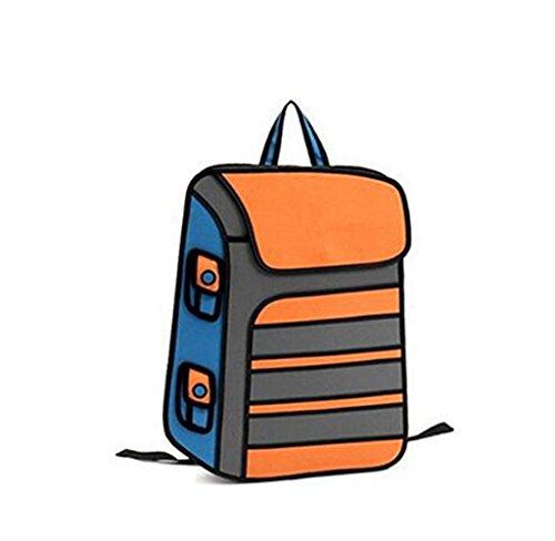 Genius_Baby New Designed Gismo Cartoon 3d Unsex Backpack 2d Comic Double Shoulder Bags Women Student Satchel Backpack (orange)