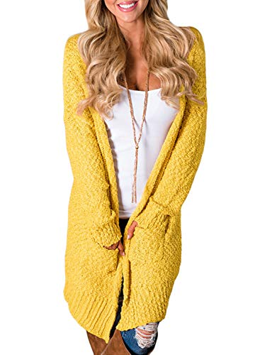 2019 Yellow Fleece - Asvivid Womens Casual Open Front Popcorn Long Cardigans Loose Winter Comfy Knitted Sweater Outwear Coat with Pocket S Yellow