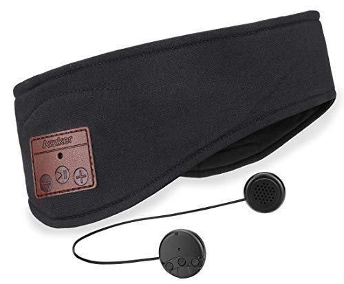 Bluetooth Headband,Azzker Bluetooth V5.0 Wireless Hands-Free Sleep Headphones Sports Headband with Detachable Ultra-Thin HD Stereo Speakers and Mic for Sleeping Yoga Calls Travel & Hiking-Black
