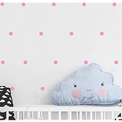 120 Pieces DIY Circles Dots Wall Decal Vinyl Sticker For Baby Kids Children Boy Girl Bedroom Decor Removable Nursery Decoration (Soft Pink)