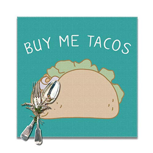 JML-LUV Buy Me Tacos Placemats Set of 6/4 for Dining Table Washable Non-Slip Wear and Heat Resistant Kitchen Table Mats Easy to Clean, 12x12 in]()