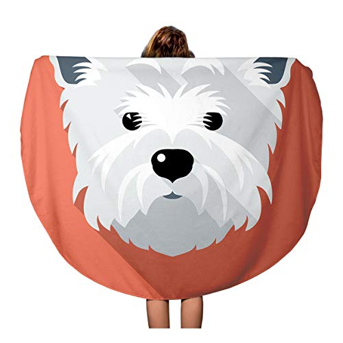 Semtomn 60 Inches Round Beach Towel Blanket Westie Dog West Highland White Terrier Face Flat Funny Travel Circle Circular Towels Mat Tapestry Beach Throw