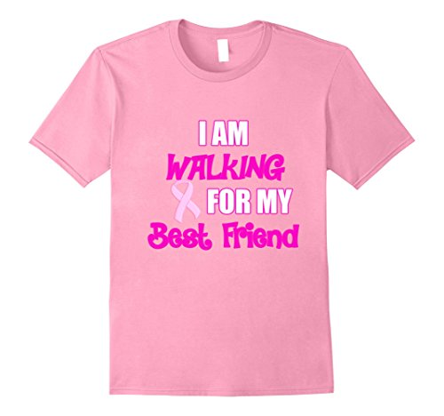 Mens I Am Walking For My Best Friend Pink Cancer Ribbon Shirt 2XL Pink