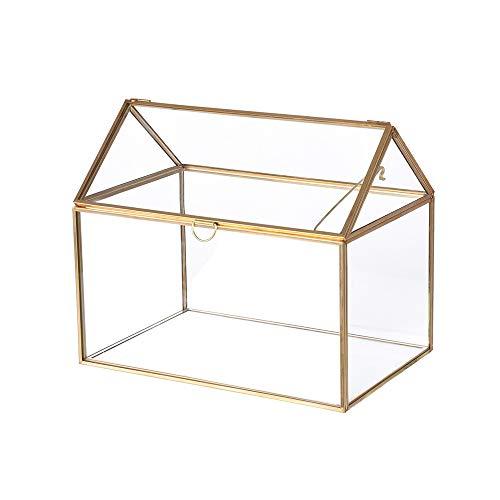 Mostbest Large Geometric Glass Box Organizer Terrarium Centerpiece Decor Card Holder Perfect for Wedding ReceptionsPlanter Holder(8.26