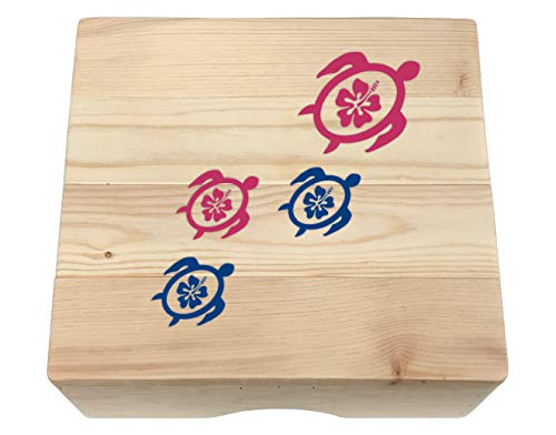 Wood Step Stool Featuring Tropical Sea Turtles on Natural Pine with Your Choice of Colors and Layout – Made in The U.S.A! (Pink and Blue)