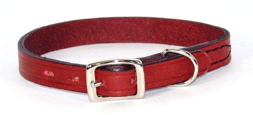 Hamilton 1/2″ x 14″ Creased Burgundy Leather Dog Collar, My Pet Supplies