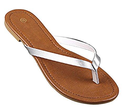 Wealsex Tongs Plates Pu Cuir Femmes Chaussures Sandales Flip Flop Plage Piscine Simple Classique Grande Taille 40 41 Argent