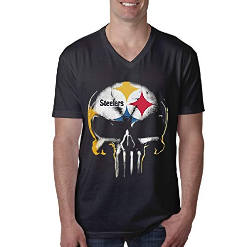 (IROTJYH Skull Pittsburgh Steelers Fashion V-Neck Short-Sleeve T-Shirt for Mens Black)