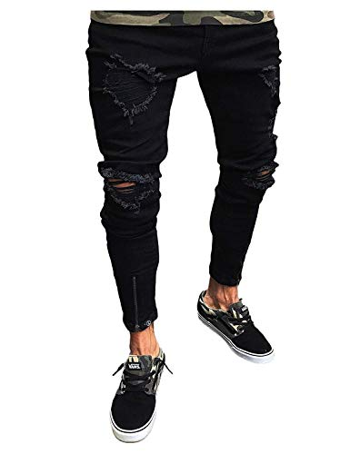 Da Jeans In Skinny Slim Fashion Fit Retro Denim Uomo Lunghi Destrutturati Colour Nero Pantaloni ptfnPwvw