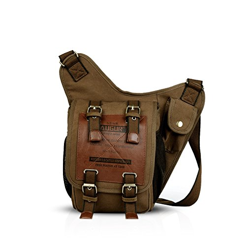 FANDARE Fashion Shoulder Backpack Cross Body Bag Sling Bag Chest Pack Bag Chest Strap Bag One Strap Sport Bag Backpack Men/Women Cycling Hiking Camping Outdoor Travel Bag Canvas Brown