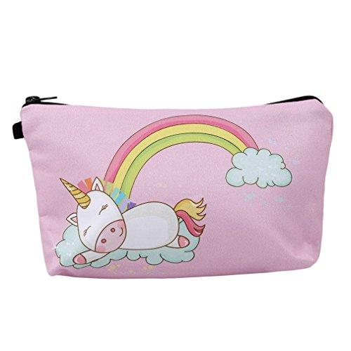 HENGSONG Women Girls Unicorn Bag Makeup Pouch Cosmetics Bag Pencil Case with Zipper Gifts Light Pink