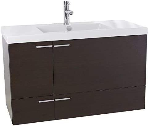 ACF ANS357 New Space Bathroom Vanity with Fitted Ceramic Sink Wall Mounted, 39 , Wenge